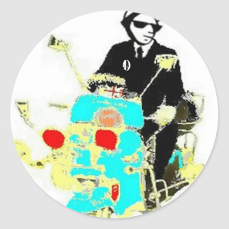 Ska On A Scoot Round Stickers