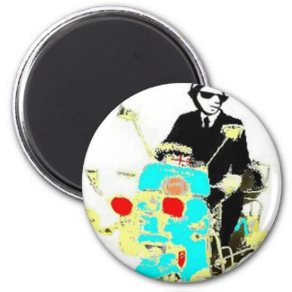 Ska on a Scoot. The 80's Ska man driving a scooter 6 Cm Round Magnet