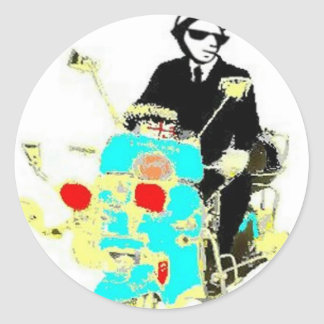 Ska on a Scoot. The 80's Ska man driving a scooter Round Sticker