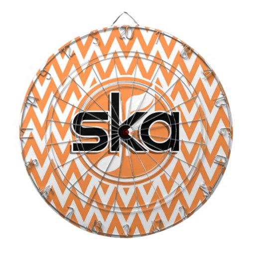 Ska; Orange and White Chevron Dartboard