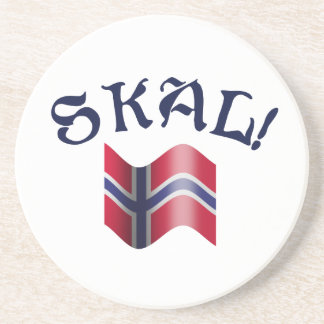 Skal Norwegian Drinking Toast with Flag of Norway Drink Coaster