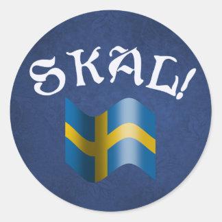 Skal Swedish Flag Toast from Sweden Round Sticker