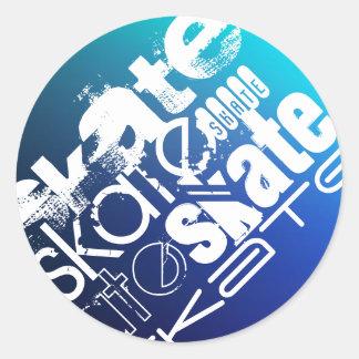 Skate; Blue Gradient Round Stickers