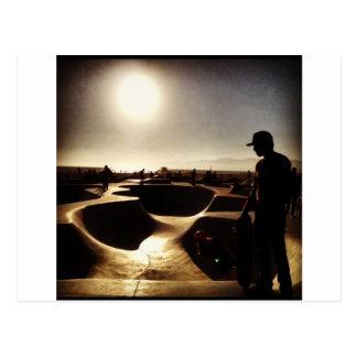 skate boarding in hollywood postcard