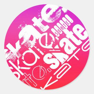 Skate; Hot Pink; Magenta Gradient Round Sticker