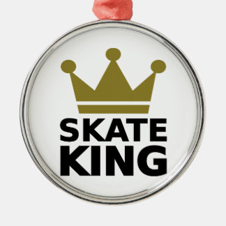 Skate King Silver-Colored Round Ornament