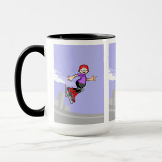 Skate on wheels cheers boy gives an extreme jump mug