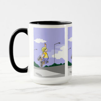 Skate on wheels young in action jumping mug