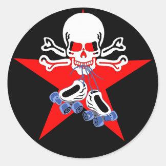Skate or die with jammer star round sticker