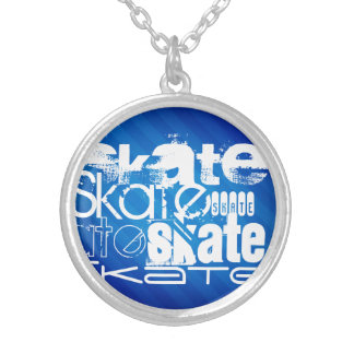 Skate, Royal Blue Stripes Personalized Necklace