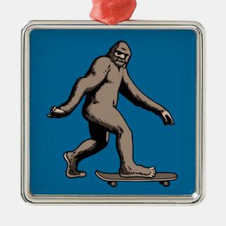Skate Squatch Metal Ornament
