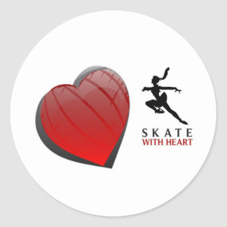 SKATE WITH HEART ROUND STICKERS