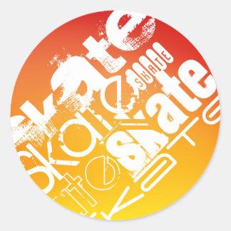 Skate; Yellow Orange Gradient Round Stickers