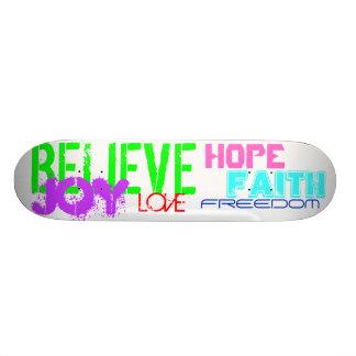 Skateboard-Believe,Joy,Love,Faith,Freedom and Hope 21.6 Cm Skateboard Deck