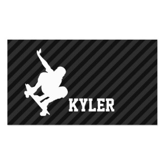 Skateboard; Black & Dark Gray Stripes Double-Sided Standard Business Cards (Pack Of 100)