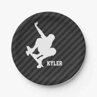 Skateboard; Black & Dark Gray Stripes Paper Plate