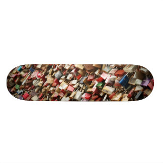 Skateboard covered with colored locks design