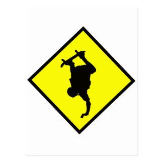 Skateboard Crossing Sign Postcard