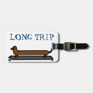Skateboard Dachshund Dog luggage tag