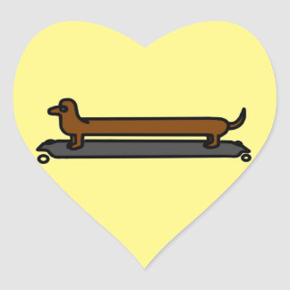 Skateboard dachshund  I love dogs stickers heart