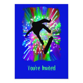 "Skateboard Flip Out in Fireworks 5"" X 7"" Invitation Card"