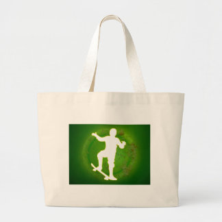 SKATEBOARD GREEN BACKGROUND PRODUCTS TOTE BAGS