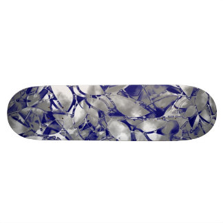 Skateboard Grunge Art Silver Floral Abstract