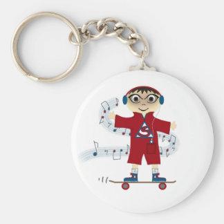 Skateboard Kid Basic Round Button Key Ring