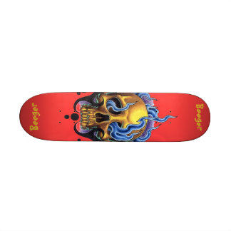 Skateboard - Old Skool Tattoo Skull with Flames
