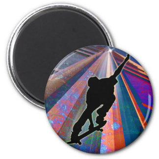 Skateboard on a Building Ray Fridge Magnets