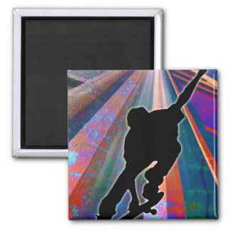 Skateboard on a Building Ray Fridge Magnets