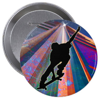 Skateboard on a Building Ray Pinback Buttons