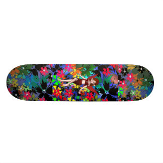Skateboard Pixie Girl Flowers