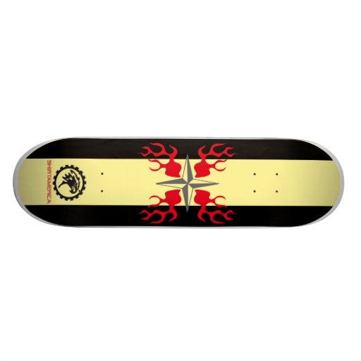 SKATEBOARD PRO OLD SKOOL STAR WITH FLAMES
