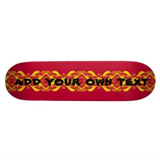 skateboard - red & yellow fancy decorative