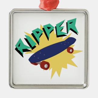 Skateboard Ripper Silver-Colored Square Decoration