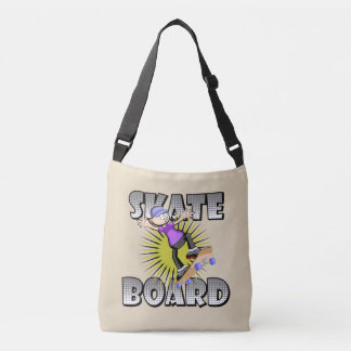 Skateboard text in grey colour with boy skating crossbody bag