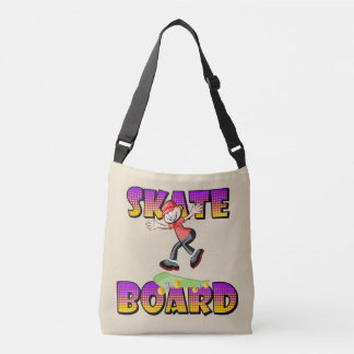 Skateboard text in violet and orange colour with crossbody bag