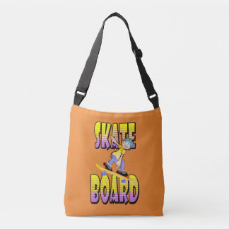 Skateboard text in yellow and violet colour with crossbody bag