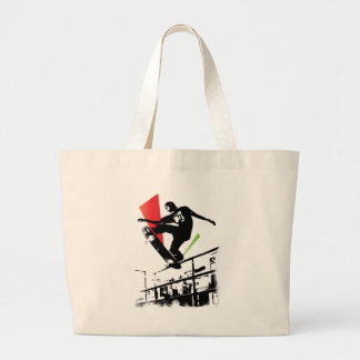 Skateboard tricks large tote bag