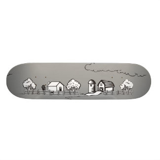 Skateboard with barn in grey color.
