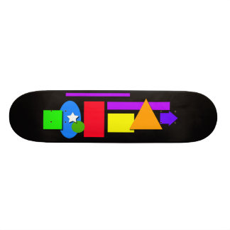 Skateboard with color shapes.