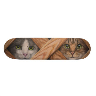 Skateboard with Two cats behind lattice fence