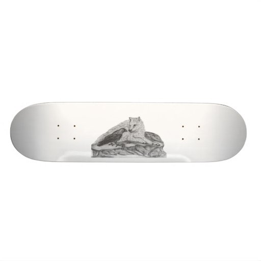 Skateboard - wolf with ravens