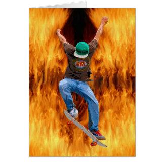 Skateboarder Action Sports Art Card