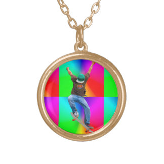 Skateboarder Action Sports Art Gold Plated Necklace