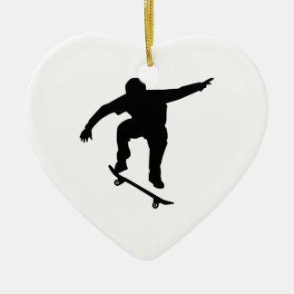 Skateboarder Ceramic Heart Ornament