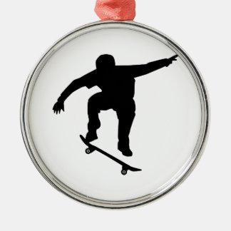 Skateboarder Silver-Colored Round Ornament
