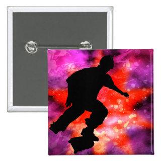 Skateboarder in Cosmic Clouds Pin
