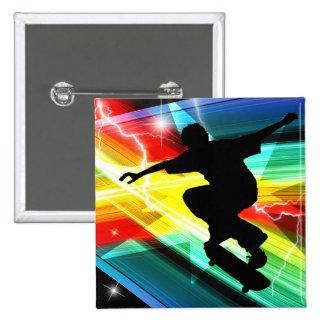 Skateboarder in Criss Cross Lightning Pinback Buttons